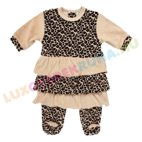 14a1e56be5 F.S. Baby hátul gombolós extravagáns plüss rugdalózó lányoknak, kezeslábas,  pizsama - Leopárd