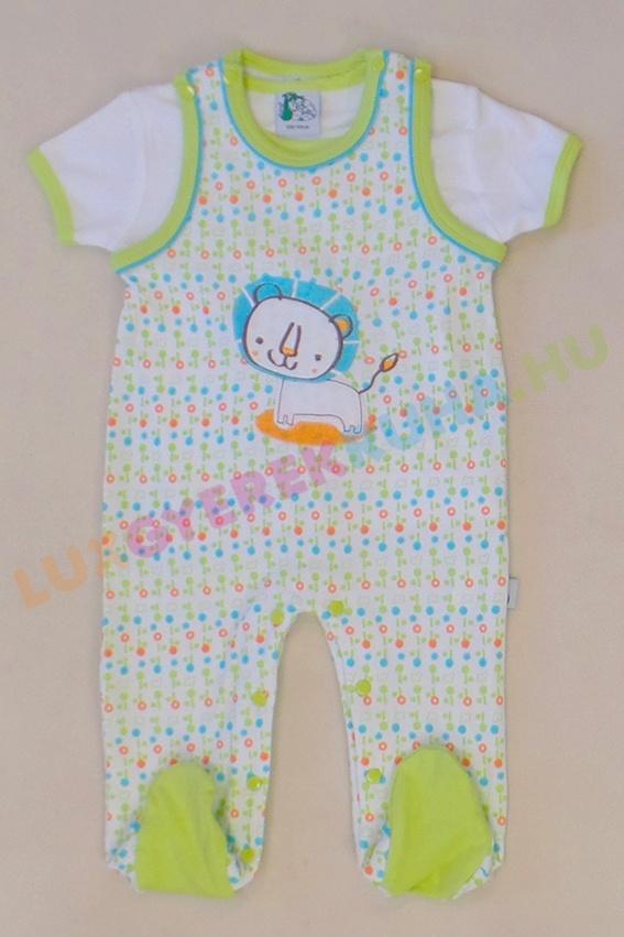 be0ac6007f F.S. Baby ujjatlan pamut rugdalózó, kantáros nadrág pólóval fiúknak - Safari