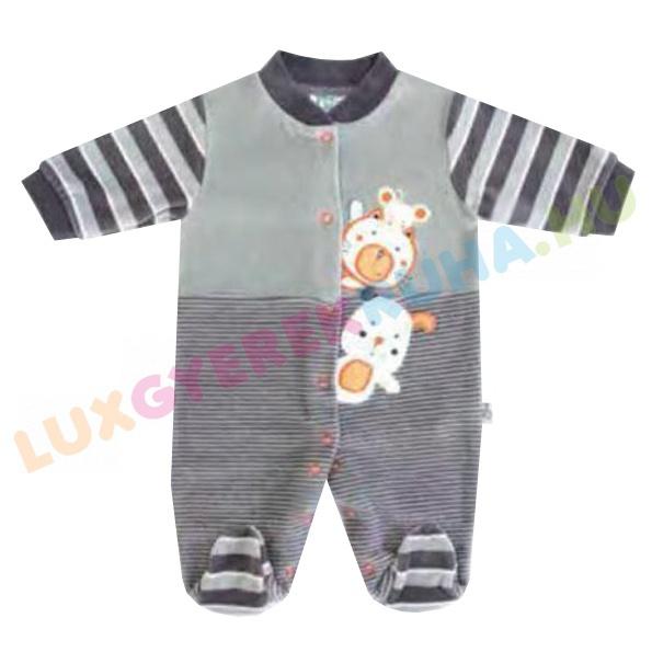 bb2568dce5 F.S. Baby elöl gombolós plüss rugdalózó fiúknak, kezeslábas, pizsama -  Funny Friends