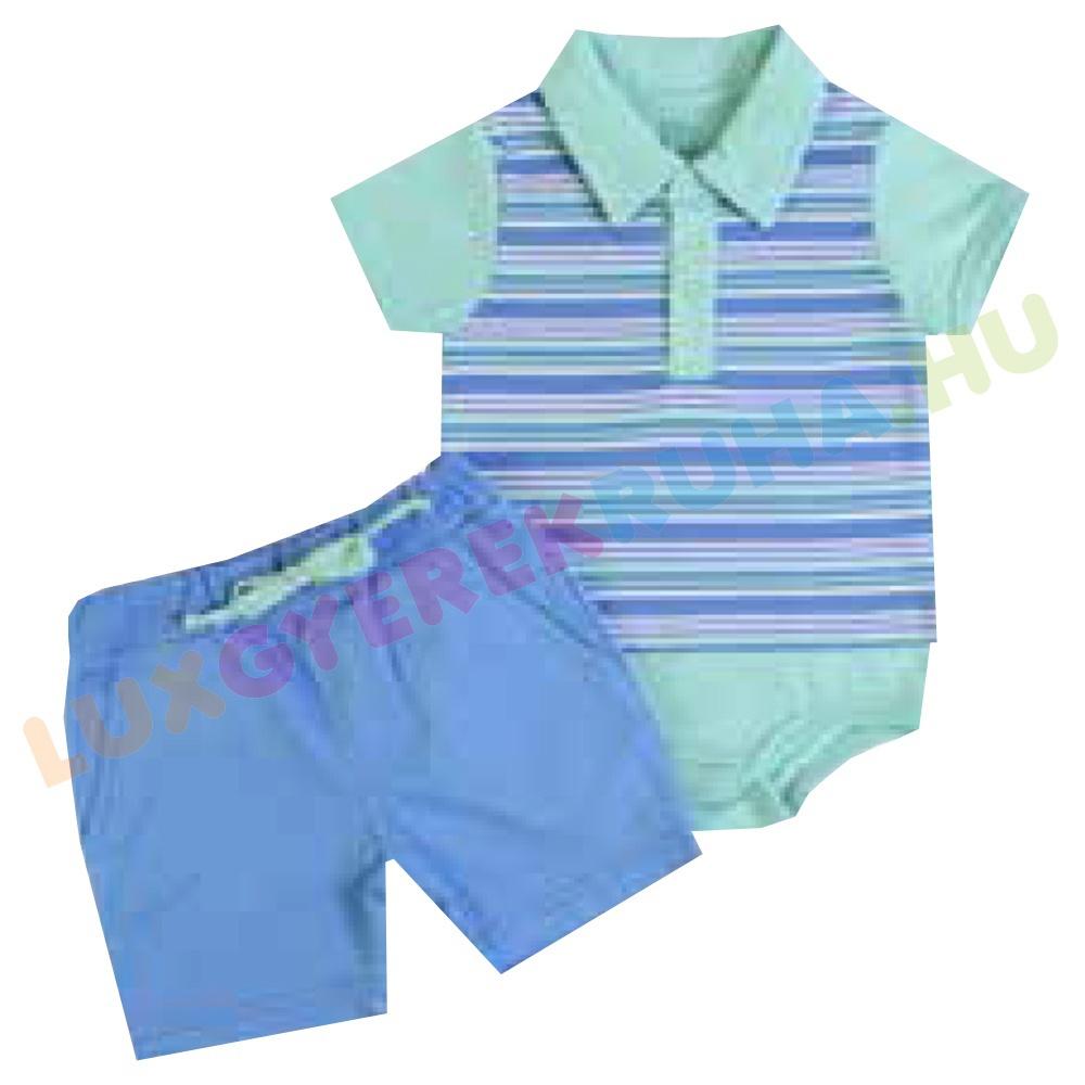 639e26bbff F.S. Baby rövid ujjú, galléros body póló és szövet sort fiúknak -