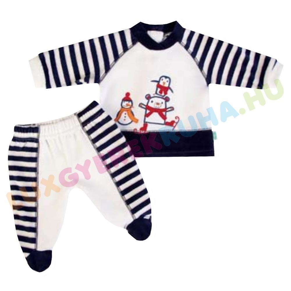 51f5f98928 ELŐRENDELÉS! - F.S. Baby kétrészes plüss rugdalózó fiúknak (hosszú ujjú  póló lábfejes nadrággal)