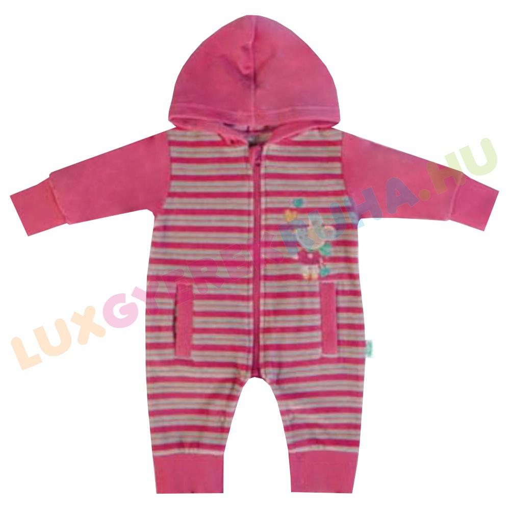 F.S. Baby elöl zipzáras lábfejnélküli plüss rugdalózó kapucnival lányoknak a1470b5a36