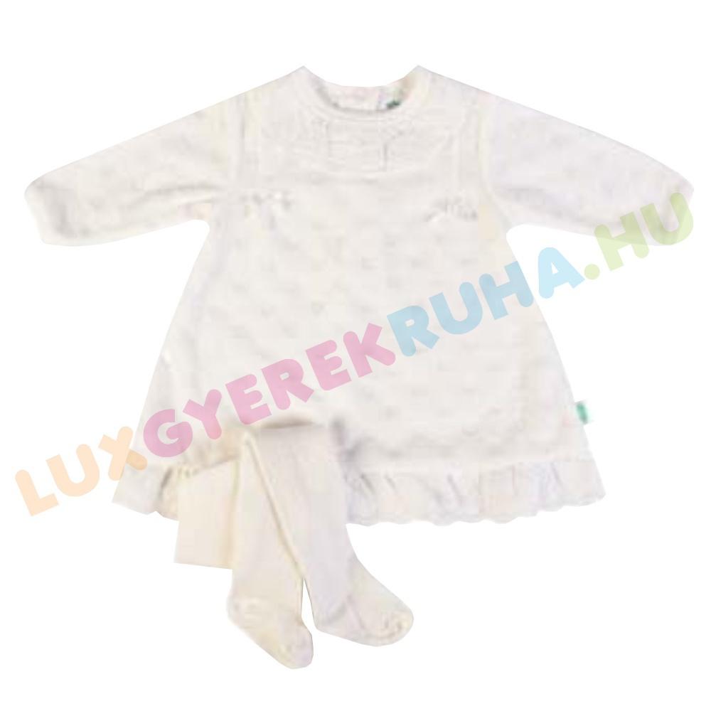 b29eb56bcd F.S. Baby elegáns hosszú ujjú plüss ruha, alkalmi ruha, keresztelőruha  harisnyával