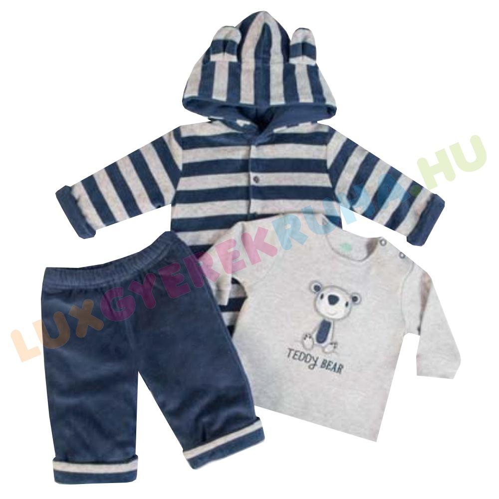 533776fa1c F.S. Baby háromrészes vastag plüss együttes (kapucnis kabát, nadrág, póló