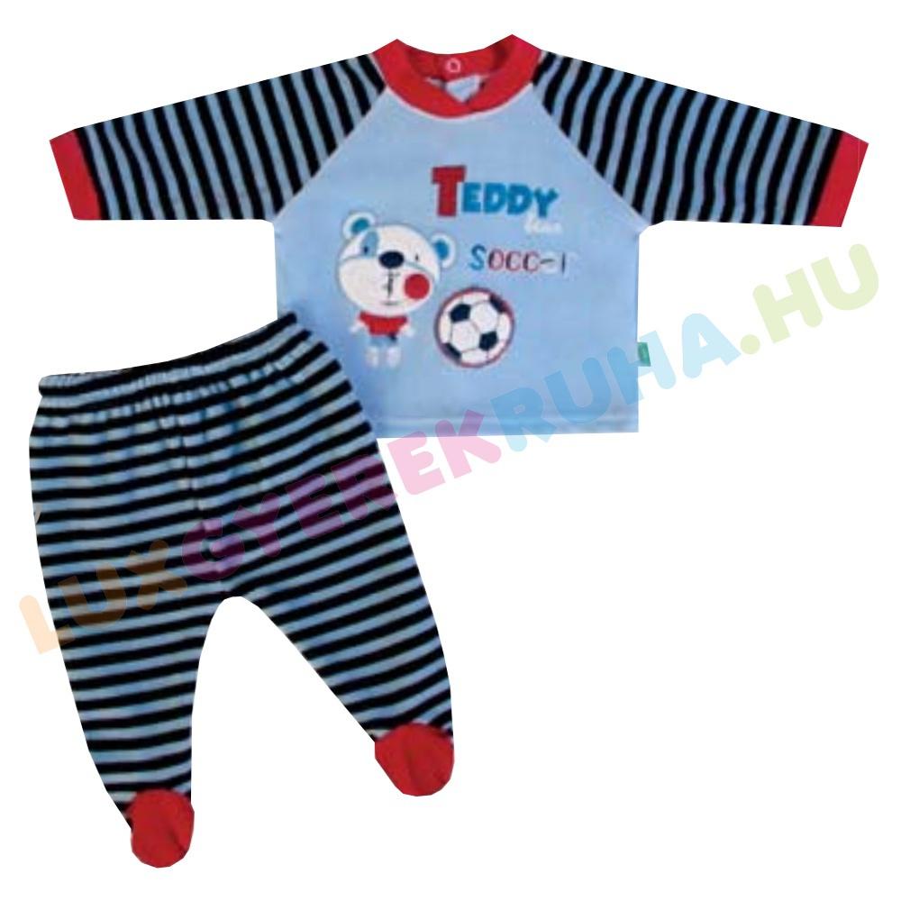 8443ed4c22 F.S. Baby kétrészes plüss rugdalózó fiúknak (hosszú ujjú póló lábfejes  nadrággal)