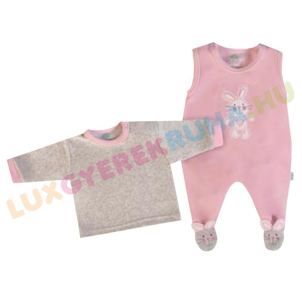 0f87711e74 F.S. Baby ujjatlan plüss rugdalózó, kantáros lábfejes nadrág pólóval - My  Bunny
