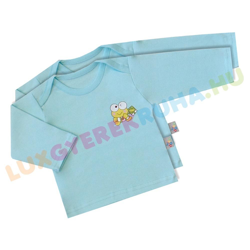 a1748f8c28 AKCIÓS - 50% 2 db hosszú ujjú pamut gyerek póló, baba felső - türkiz