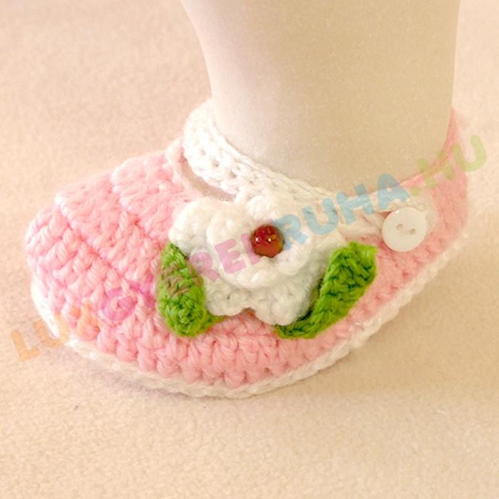 eff94551b7 AKCIÓS - 50% Horgolt újszülött mamusz, kocsicipő, baba cipő - rózsaszín